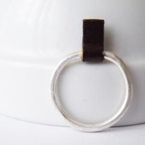 Silver Stacking Ring Brown Leather ..
