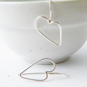 Sterling Silver Heart Earrings Outl..