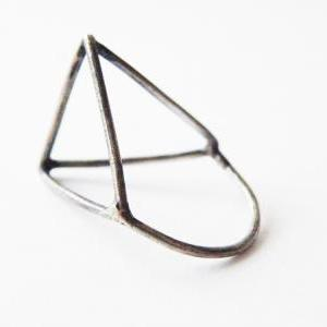 Architectural Ring Oxidized Sterlin..