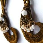 Brown Vintage Lace Drop Earrings. L..