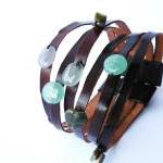 Cuff Leather Bracelet. Multi Strand..