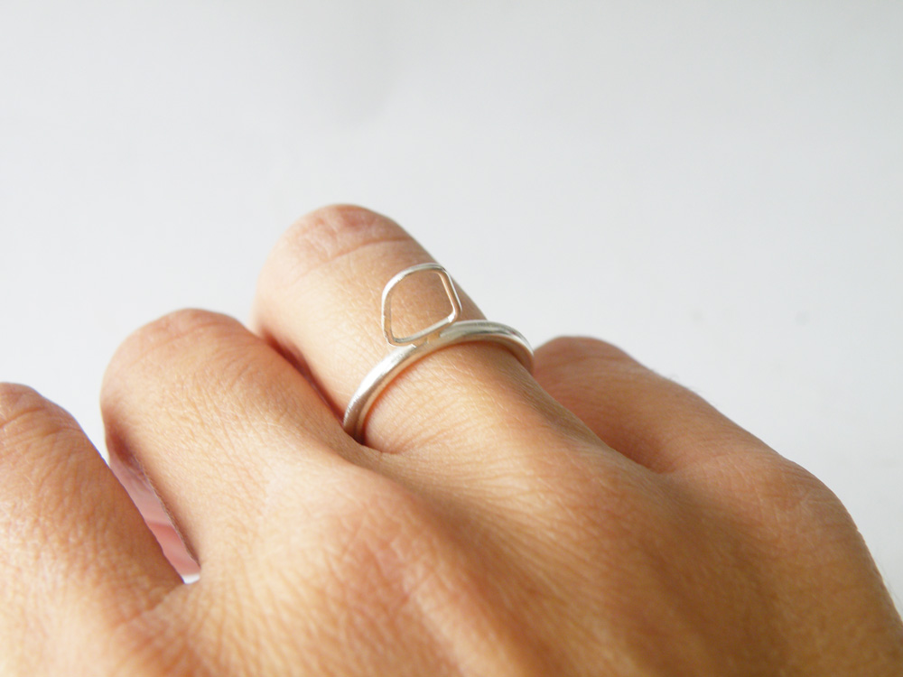 Sterling Silver Stacking Ring Outlined Abstract Ring Satin Finished Modern Geometric Ring by SteamyLab