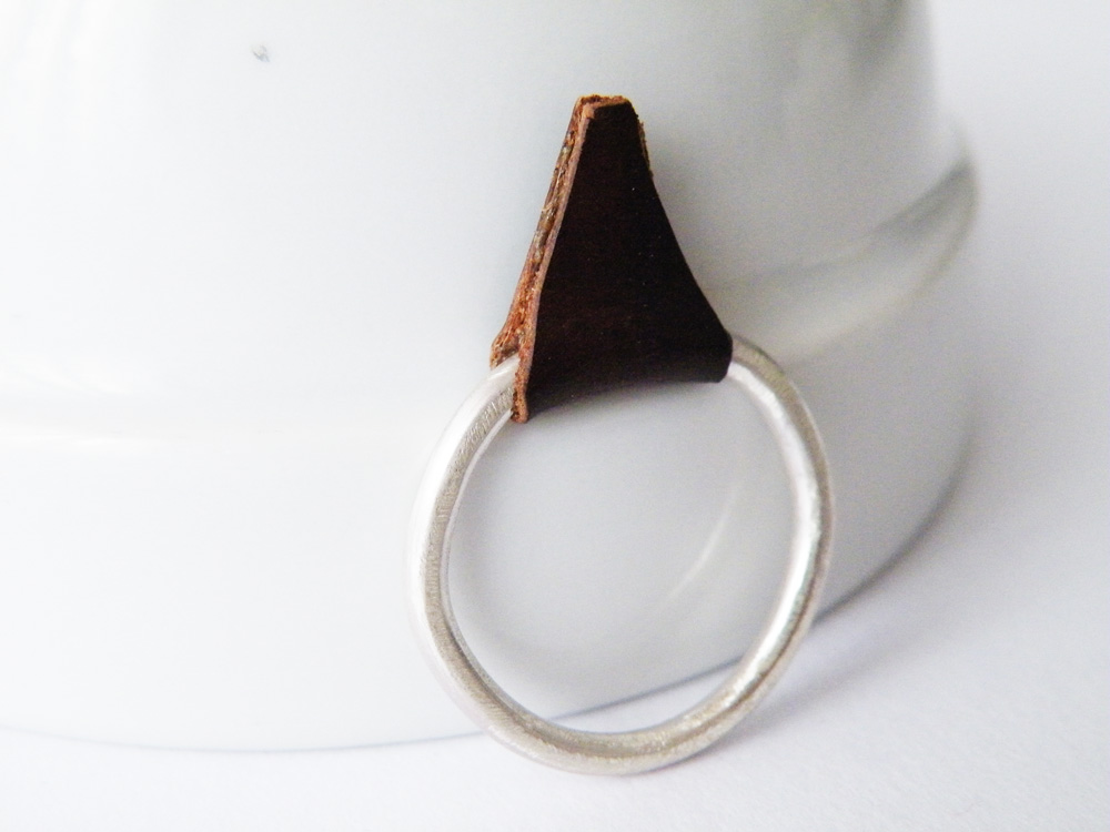 Rock Glam Sterling Silver Stack Ring Brown Leather Spike Ring Edgy Modern Ring by SteamyLab