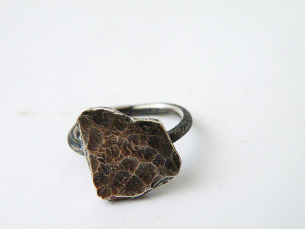 Oxidized Sterling Silver Texture Ring Antique Finish Ring Silver Modern Ring by SteamyLab