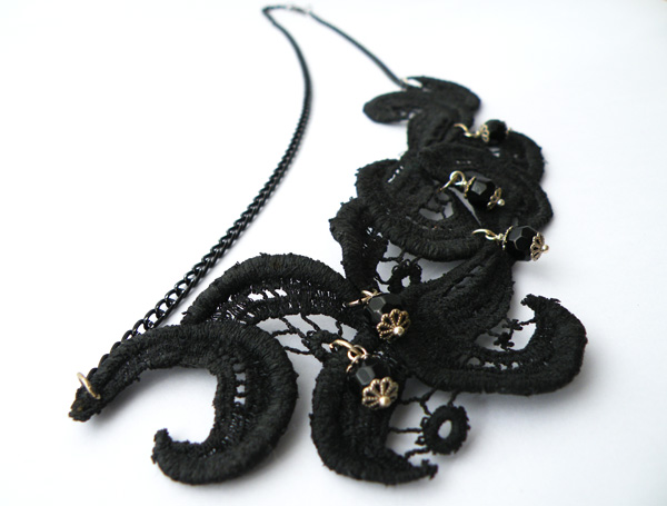 Black Lace Vintage Necklace. Statement Jewelry. Hand Dyed Lace. Unique Jewelry. Handmade by SteamyLab.