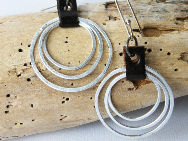 Hammered Aluminum Hoop Earrings. Small Hoop Earrings. Upcycled Jewelry. Minimalist. Modern Gift Ideas. SteamyLab.