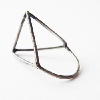 Architectural Ring Oxidized Sterling Silver Modern Minimalist Geometric Jewelry