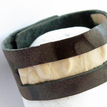 Tribal Leather Wristband Printed Leather Cuff Brown Beige Primitive Fashion Accessories For Her Design by Steamylab